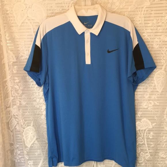 2db0ec0e41 Nike Dri-Fit Blue White Black Polo Shirt Sz. L. M_5b92c46e34a4ef24195c5ef4